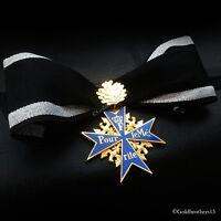 Pour Le Merite Gold Plated Cross + Oak Leaf Medal Blue Max Highest Award Copy
