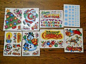 8 Vintage Sheets Christmas Window Clings/Santa/Snowflakes/Snowman/Tree/65 Piece