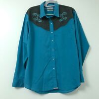 Ely Country Charmers Western Shirt Womens Size XL Blue Snap Front Embroidered