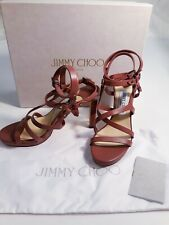 MIB Jimmy Choo Monica Leather Strappy Studded Sandals Heels, Size 37eu/6us