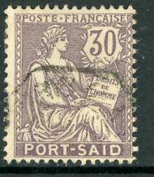 French Colony 1903 Port Said 30¢ Mauve  VFU  R632