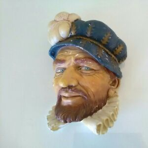 8.5inch Chalkware Sir Walter Raleigh Wall Plaque.