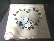 Pottery Barn Teen PEANUTS Sting Light PILLOW COVER Snoopy Christmas Holiday Bed