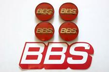 4 REAL BBS RED WITH GOLD 3D LOGO 56mm  CENTER CAPS 56.24.100 or 56.24.012