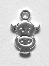 ONE STERLING SILVER SMALL COW CHARM / PENDANT, 11 X 8 MM