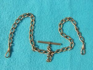 ANTIQUE OLD VINTAGE 12 CT ROLLED GOLD ALBERT WATCH CHAIN MADE BY L.B. IN VGC