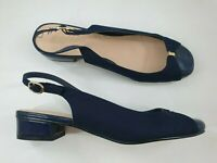M&Co size 6 (39) navy blue faux suede / patent slingback block heel court shoes
