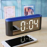 KQ_  Alarm Clock Large Digital LED Display Portable Modern Battery Operated Mirr