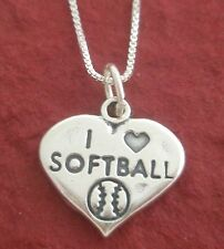 Softball Necklace Sterling silver I Love Heart Solid 925 18 inch chain jewellery