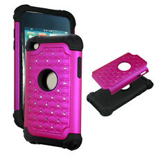 Hot Pink  Hybrid Rhinestone silicon Apple iPod Touch 4th gen Cover Case