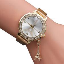 Leather Band Women Quartz Wrist The Eiffel Tower Rhinestone pendant Wrist Watch
