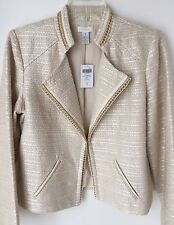 New Chicos Women's Ecru Tweed Jacket Size 1 (8/10) M Cream Ivory Gold NWT