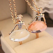 Pretty Alloy Ballet Gold Plated Long Chain Fashion New Pendant Crystal Necklace