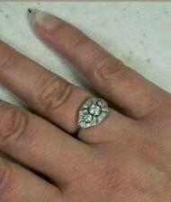 Vintage Style Art Deco Ring 3 Stone Ring 14K White Gold Over 2.8 Ct Diamond