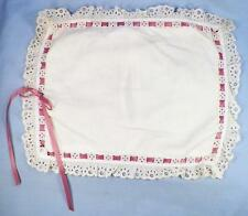 Vintage Cotton Pillow for Doll Crib Cradle Eyelet Lace Trim with Ribbon Nice