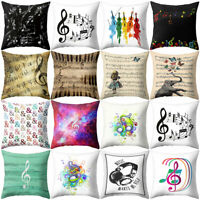 Music Note Guitar Print Throw Pillow Case Cushion Cover Bed Home Decor Newly