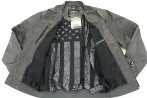 mens harley davidson jacket M gray INTREPID distressed nylon #1 bar wings zip