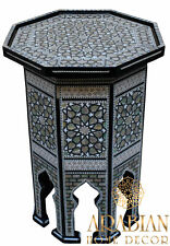 """Egyptian Moroccan 21"""" Height Mother of Pearl Inlay Wood Coffee Side End Table"""
