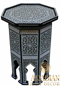 "Egyptian Moroccan 21"" Height Mother of Pearl Inlay Wood Coffee Side End Table"