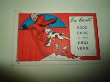 Vintage Postcard BULLDOG HUMOUR In Haste Good Luck In The New Year