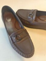 SAS TRIPAD Comfort Foot Bed Brown Leather Loafer Slip On Womens Size 7 to 7.5M