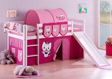 Juego de cama alta JELLE 190x90 blanco con Tobogán lilokids Angel Cat Sugar