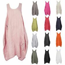 47e2223877 Women Italian Lagenlook Pocket Plain Sleeveless Linen Midi Tulip Dress Plus  Size