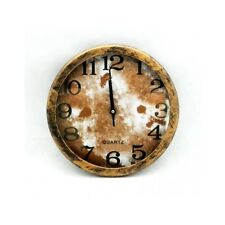 Quarzuhr Antik Rustikal Uhr Wanduhr Rund Braun Und Gold 25 Cm