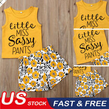 Toddler Kid Baby Girls Floral Sassy Tops T-shirt Pants Shorts Outfit Clothes