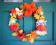 Thanksgiving Fall Harvest Scarecrow Door Wreath w/ Autumn Leaves,Mesh Burlap,Sun