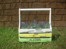 SHABBY WOODEN DISTRESSED COUNTRY CADDY BOX HOLDER PLANTER