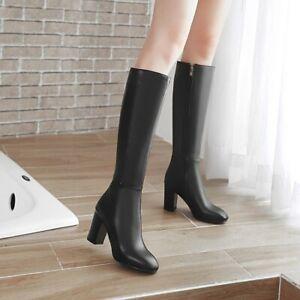 Womens Knee High Boots Block High Heel Long Boot Military Punk Side Zip Shoes