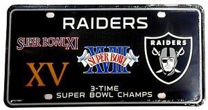 Las Vegas Raiders 3X Super Bowl Champions License Plate Tag Oakland Football