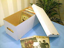 """7"""" VINYL RECORD STORAGE BOX x1 WITH LID!  STRONG!DOUBLE WALL HOLDS 2OO SINGLES!"""