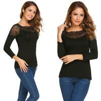 Women Long Sleeve Lace Patchwork T-shirt Bottoming Tee Slim Leisure Tops EHE8