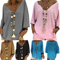 Womens Summer V Neck Long Sleeve Baggy Blouse Solid Tunic Tops T Shirt Plus Size