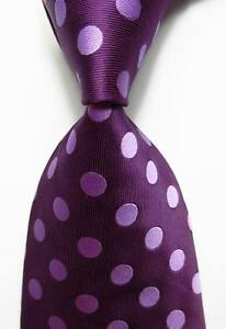 New Classic Polka Dot Dark Red JACQUARD WOVEN 100% Silk Men's Tie Necktie