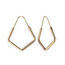 Rose Gold Plated Hexagon Geo Sterling Silver Hoop Earrings 21mm