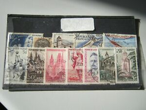 FRANCE 12 COMMEMORATIVE STAMPS ALL USED