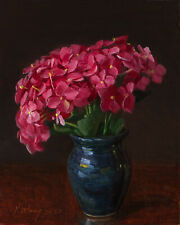 "Original oil painting still life realism hydrangea flower 10x8"" Y Wang Fine Art"