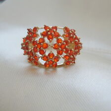 1.46ct Certified Salamanca Red Mexican Fire Opal Gold Cluster Ring