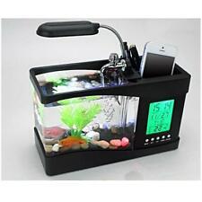 1.5L USB Aquarium de Table LCD Affichage Horloge avec LED Lampe Eau Recirculé