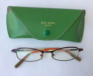 KATE SPADE Green Boarskin Leather Eyeglass Case & prescription Lens Eye Glasses