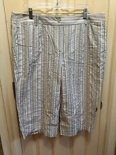 Lknu Pure Cotton Cropped Pants, Capris Talbots 18W Plus Vertical Stripes