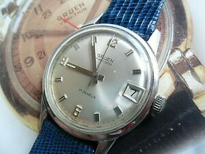 Vintage S/S 1970's Gruen Precision 17 Jewel Swiss Mechanical Watch Runs