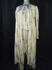 HANAE MORI Vtg 80s Beige Silk 3 pcs Pajams Robe/Top/Pant-Bust 37/Waist 28-38/S-M