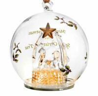 """Spode - LED Multicolor Glass Manger Ornament - 4"""" - New in box"""