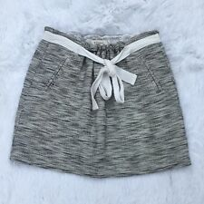 Fossil Skirt sz XS Women's Tweed Paperbag Tie Waist Career Linen Blend Mini -H