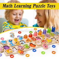 Wooden Number Counting Matching Puzzle Toy Preschool Educational Learning  A