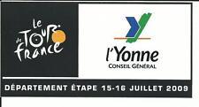 autocollant tour de france 2009, département de l'Yonne etape 15.16